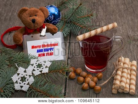 Tea, Baking, Nutlets And A Toy Bear With A Label