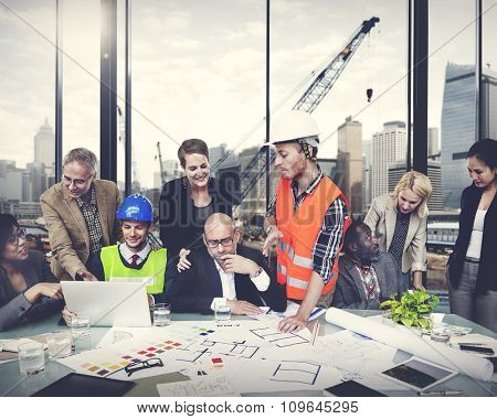 Engineer Construction Worker Discussion Working Workplace Concept