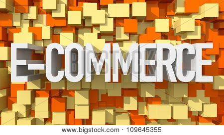 Extruded E-commerce Text With Blue Abstract Backround Filled With Cubes