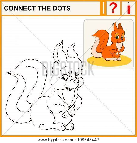 Connect the dots preschool exercise task for kids funny squirrel
