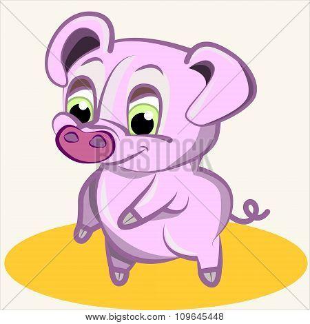 Fun animal. Cartoon vector Illustration of cute funny pink pig