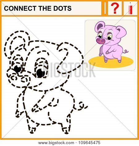 Connect the dots preschool exercise task for kids pink pig