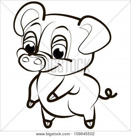 Vector isolated illustration cute cartoon of funny pink pig. Black.