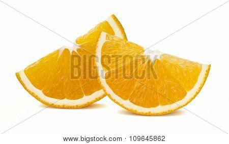 Orange Quarter Slices Horizontal Isolated On White Background