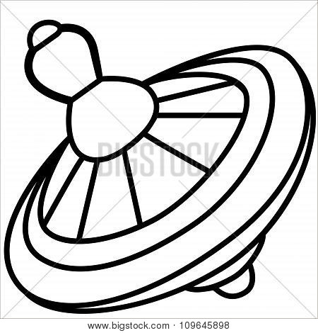 Vector isolated illustration cute cartoon of yellow whirligig. Black.