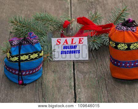 Coniferous Branch, Blue And Orange Bag, Label With An Inscription Sale