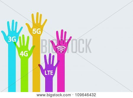 Vector colorful hands mobile internet infographics