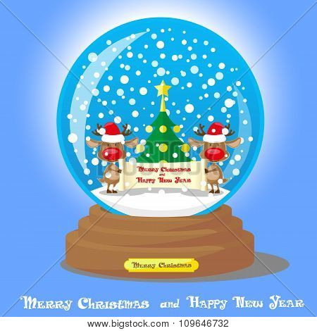 Vector Christmas Snow Globe:  Two Funny Deer In Santa Hat With Scroll And Christmas Tree On Blue Gra