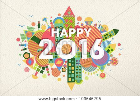 New Year 2016 Happy Greeting Card Fun Colorful