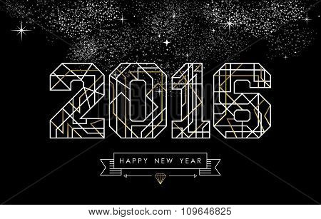 Happy New Year 2016 Gold Deco Geometry Outline