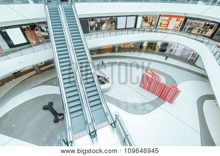 escalator in modern shopping mall