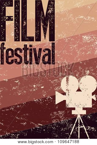 Film festival poster. Retro typographical grunge vector illustration.