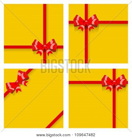 Set Of Gift Boxes, Tied With Ribbons And Bows. Top View. Flat Design