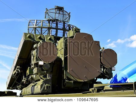 MOSCOW REGION  -   JUNE 18: Container with missiles and radar antenna of the air defense system  -  on June 18, 2015 in Moscow region