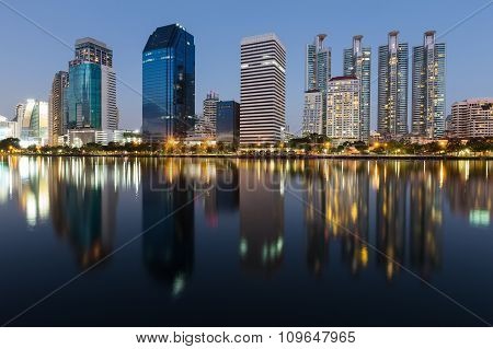 Water reflection of city downtown