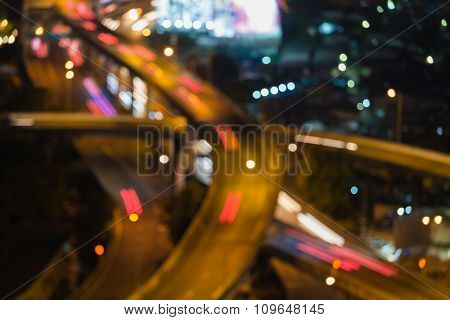 Close up blurred bokeh lights city highway