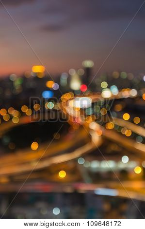 City road interchanged, abstract blurred bokeh background