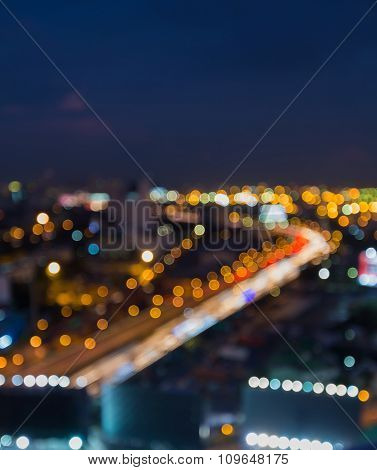 Blurred city road curved background at night