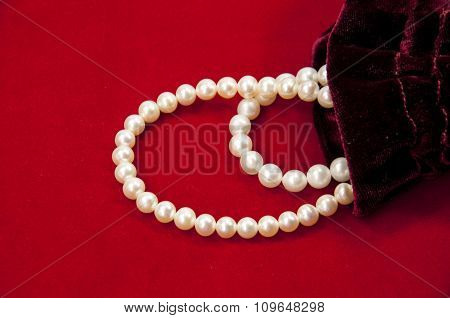 Pearl beads inside pouch