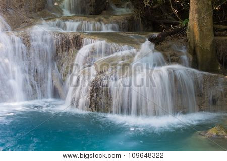 Blue stream waterfalls in national park of Thailand