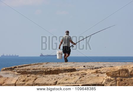 fisherman from Acre on the Mediterranean Sea