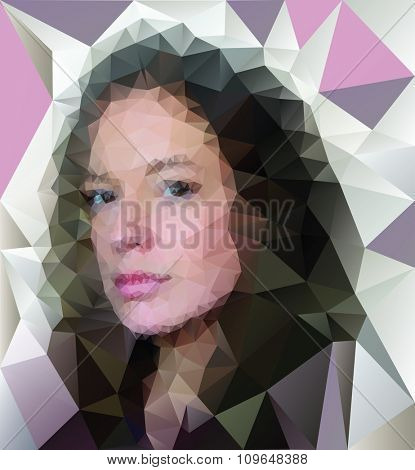 vector low poly woman face