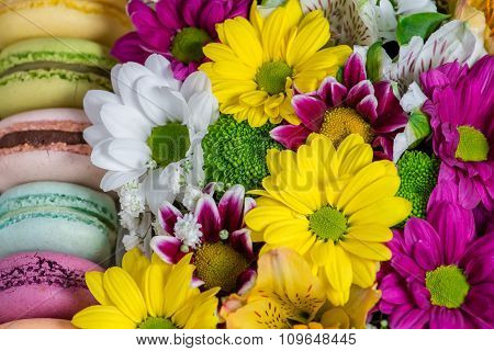 Closeup Of  Flowers And Macaroon. Shallow Depth Of Field, Focus Focus On Near-term