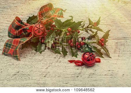 Luxurious Christmas Decoartions On Wooden Background
