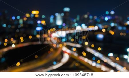 Big City blurred lights intersection at night