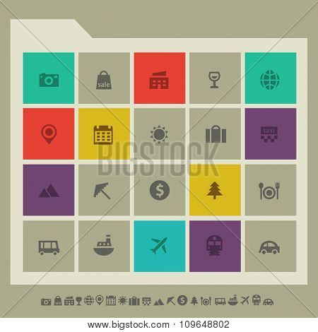 Tourism icon set. Multicolored square flat buttons