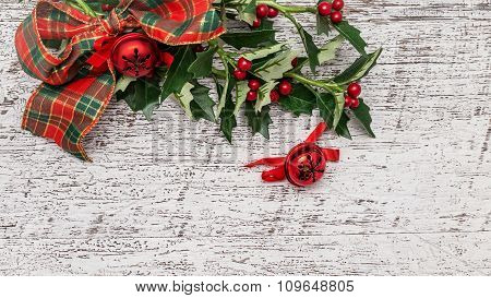 Classic Christmas Decoration On Wooden Background