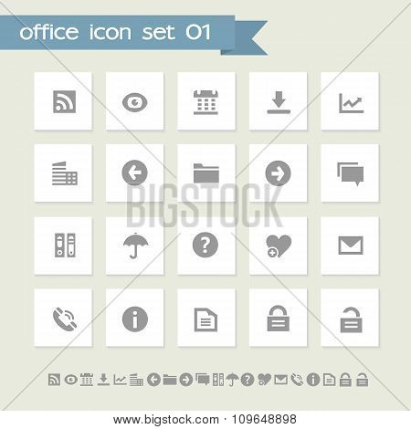 Office 1 icon set. Simple flat buttons