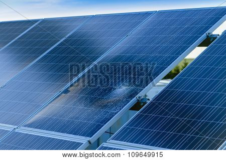 Pieces Of Splitted Or Cracked Defect  Solar Panel, Toned, Close-up