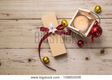 Cute Little Christmas Decorative Objects On Wooden Table