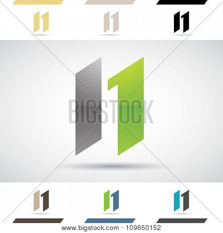 Design Concept of Colorful Stock Icons and Shapes of Letter N, Vector Illustration