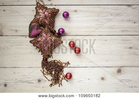 Top View Of Decorative Objects On Wooden Background