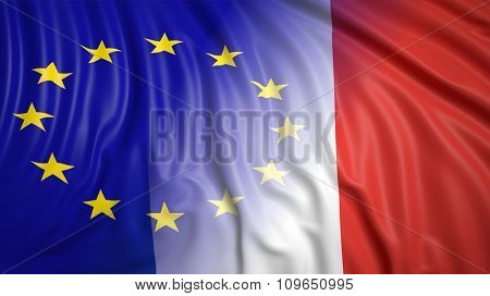 Close-up of French and EU flags