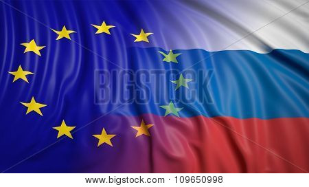 Close-up of Russian and EU flags