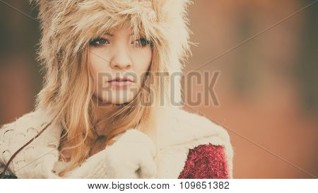 Portrait Of Pretty Fashion Woman In Fur Winter Hat