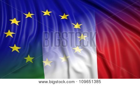 Close-up of Italian and EU flags. From above