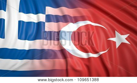 Close-up of Turkish and Greek flags