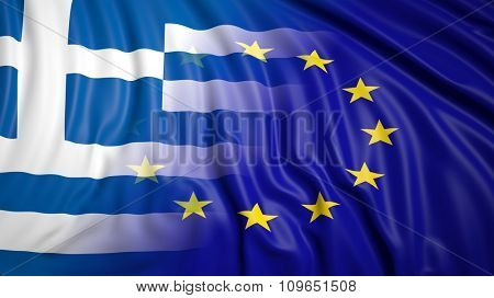 Close-up of Greek and EU flags
