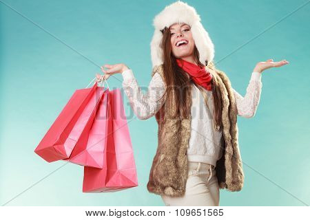 Woman With Bags Shopping. And Empty Hands.