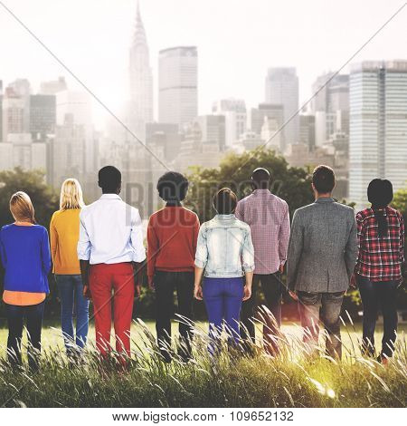 People Teamwork Togetherness Corporate Aspiration Rear View Concept