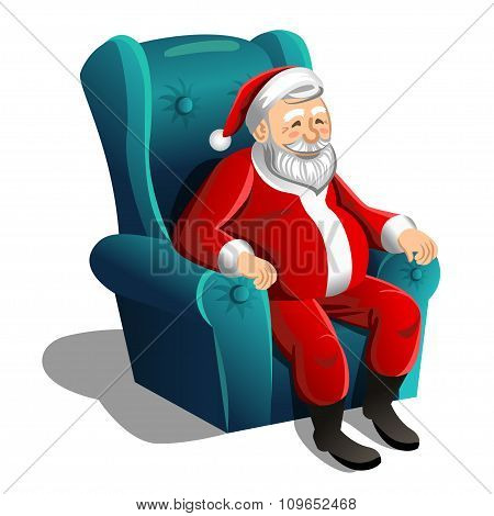 Happy Santa Claus Sitting In Armchair On A White Background. Vector Christmas Scene.