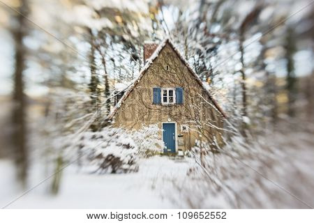 House With Snow In A Forest