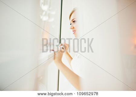Gentle Blonde  Bride On Curtains Tender Posed
