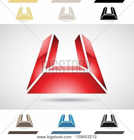 Design Concept of Colorful Stock Icons and Shapes of Letter U, Vector Illustration