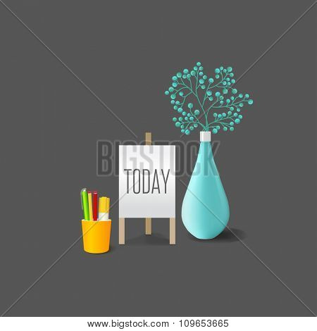 Plants in a pot vase isolated in background. Concept image for interior design and decoration of home and office. Mockup template.
