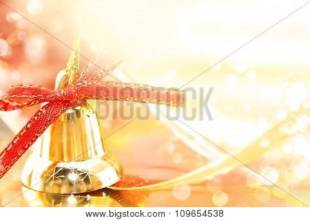 Golden Christmas Decoration On Shiny Background With Copy Space For Text. Holiday Background Or Gree